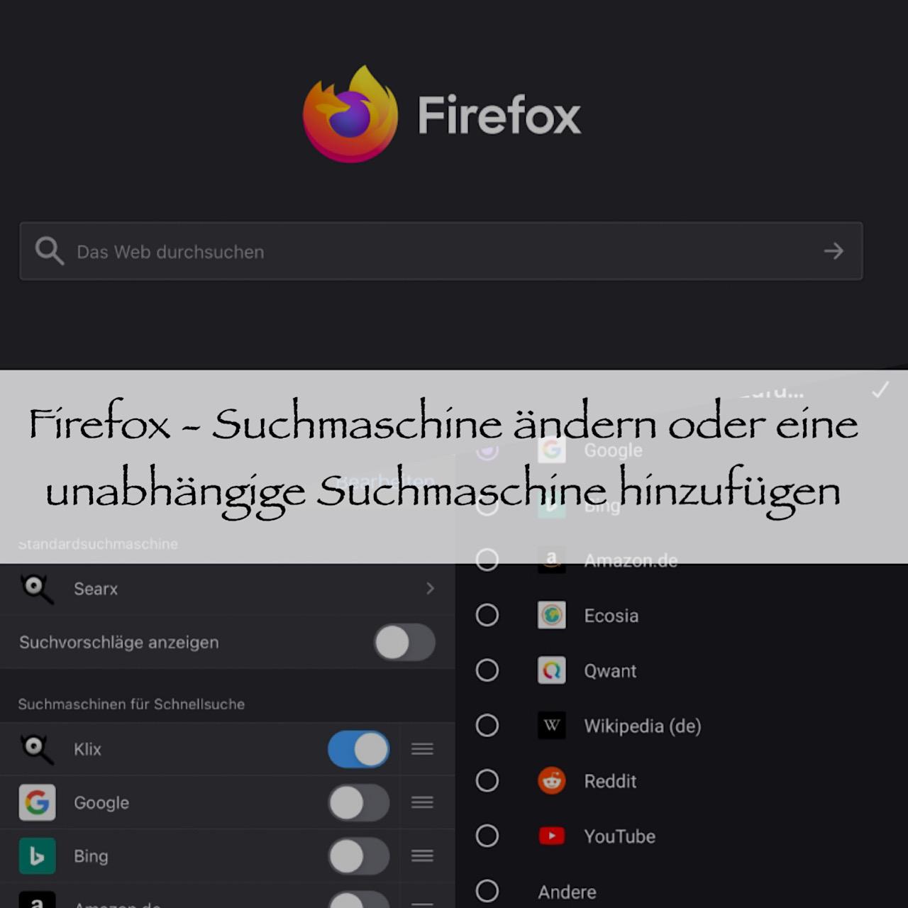 Firefox – Suchmaschine ändern oder eine unabhängige Suchmaschine hinzufügen