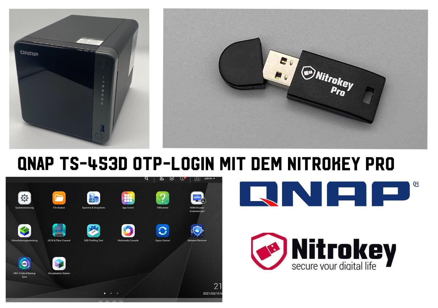 QNAP TS-453D OTP-Login mit dem Nitrokey Pro
